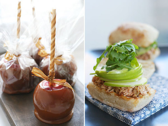 Caramel-Coated Apples and Tuna, Arugula and Apple Sandwiches