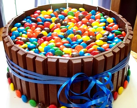 Kit Kat and M & M Cake