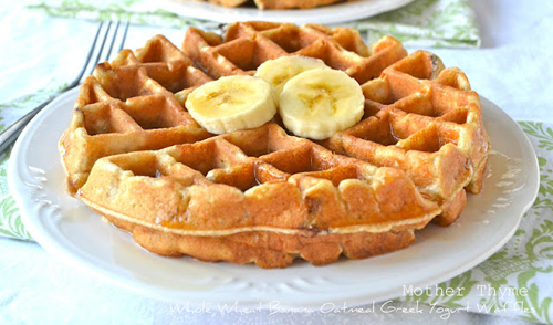 Whole Wheat Banana Oatmeal Greek Yogurt Waffles