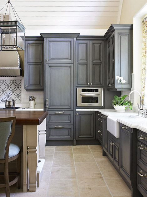 Charcoal-gray  cabinets also refereed to as Blue-gray cabinets!