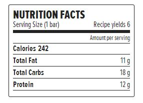 Nutrition Facts - Peanut Butter Protein Bars