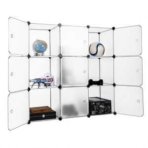 LANGRIA 9-Cube DIY Modular Shelving Storage Organizing Closet with Translucent Doors and Cube Design for Clothes, Shoes, Toys and Books