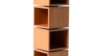 HomCom 4-Tier Rotating Cube Media Tower - Beech Wood