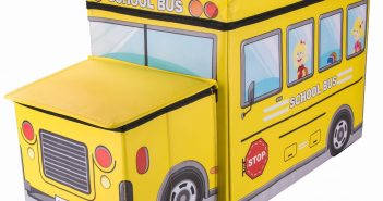 School Bus Collapsible Toy Storage Box and Closet Organizer with Storage Hood for Kids