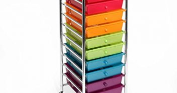 Seville Classics 10-Drawer Organizer Cart with Drawers, Pearlized Multi Color